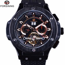 Forsining 2017 Military Series Male Sport Men Chronograph Silicone Band Black Men Wrist Watch Automatic Watches Top Brand Luxury