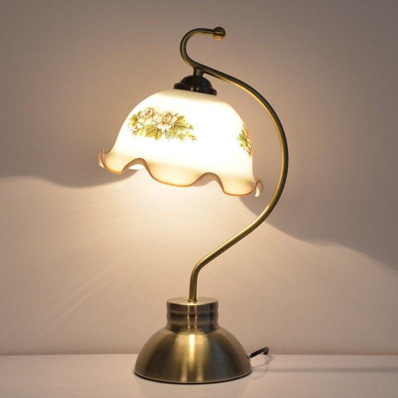 ФОТО Loft Vintage Glass Reading Table Light Bedroom Reading Lamp For Cafe Bar Hotel