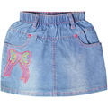 Girl's embroidery Character pattern mini Jeans skirts two front pockets rhynestones elastic waistband for toddler girl XML-67076
