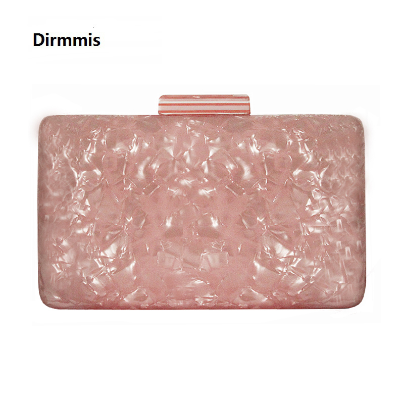 2019 New Brand Fashion Women Evening Bags Pink Cute Handbags Luxury Party Prom Acrylic Bags Woman Wedding Bride Casual Clutch-in Clutches from Luggage & Bags
