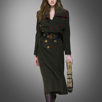Direct Selling New Button Pockets Solid Double Breasted Cashmere Coats Bayan Kaban Autumn And Winter Are Slim Long Coat