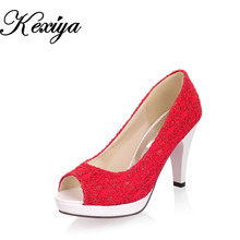 Hot sale ! Big size 31-43 of 2015 fashion women Wedding shoes sweet style single shoess solid lace vamp high heels CHD-D34