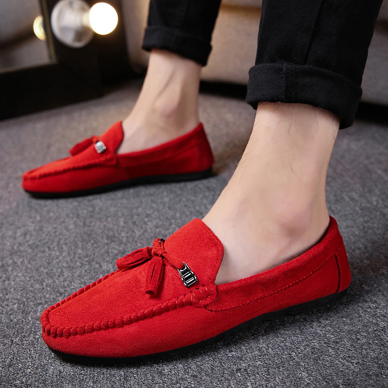 New Men's Breathable Walking Shose Oudtoor Comfortable Soft Shoes Flats Male Students Black Red Non-Slip Date Shoes Footwears 1
