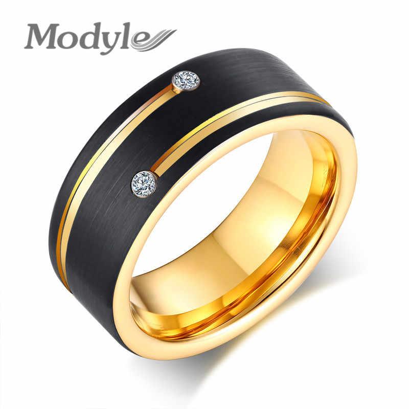 Modyle 2019 חדש מותג שחור וזהב צבע טונגסטן קרביד חתונת טבעת מגניב גברים פאנק תכשיטי עם CZ אבן סיטונאי