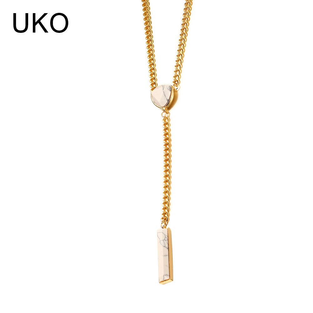 UKO White Pendants Necklaces Women Jewelry Female Anniversary Gift Alloy Necklaces