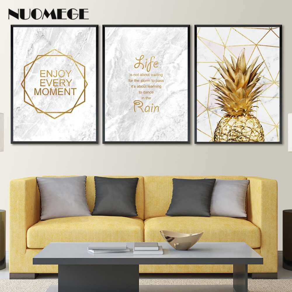 Marble Golden Pineapple Pictures Abstract Wall Art Motivational Quote Painting Simple Canvas Poster Decoration For Living Room