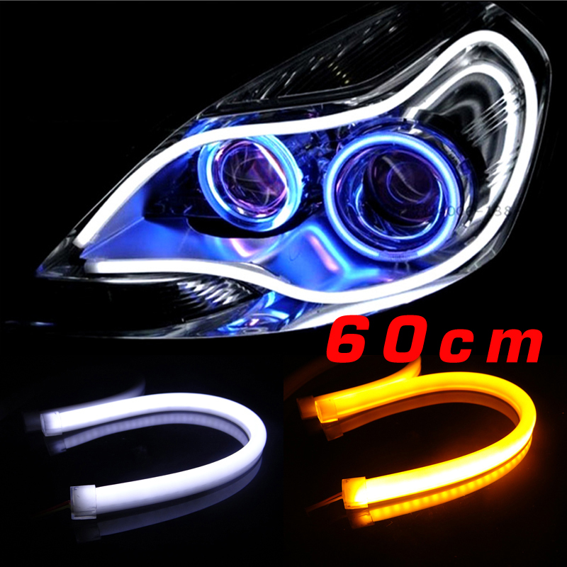 2Pcs/lot Factory Price 60CM Daytime Running Light Strip Whtie/Yellow/Red/Blue Available Flexible Headlight DRL Switchback free shipping 60cm flexible daytime running light 4 colors available white yellow blue red day driving switchback drl