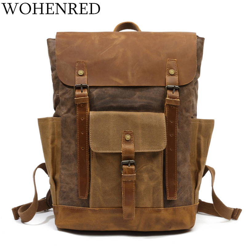 Men Backpack Waterproof Computer Laptop Bag Vintage Canvas Large Capacity Travel Backpacks Leather Military Male Backpack School 13 laptop backpack bag school travel national style waterproof canvas computer backpacks bags unique 13 15 women retro bags