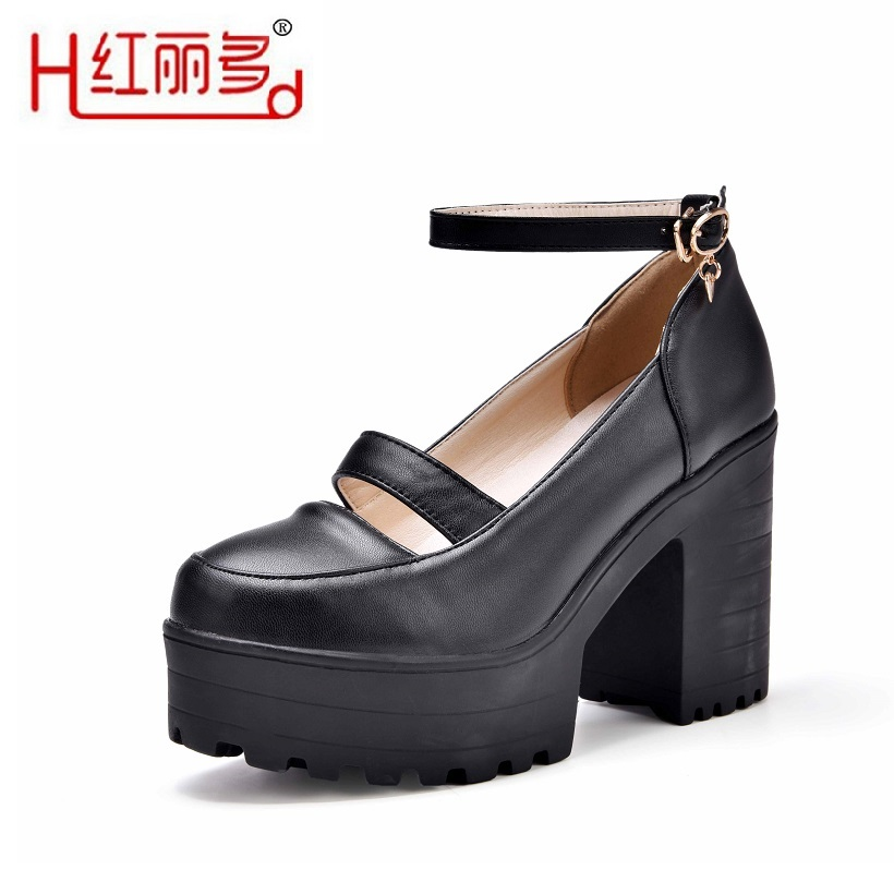 цена на fashion women black 42 43 small big size high thick heels round leather  Wedding shoes ladies Breathable Pink pumps bridal shoes
