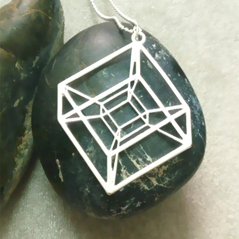 Egy darab Hypercube - arany / ezüstözött geometriai nyaklánc - - Divatékszer - Fénykép 2