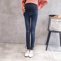 Rope stretch elastic maternity pants maternity wear casual pants stomach lift pants hole stretch stomach lift denim pants