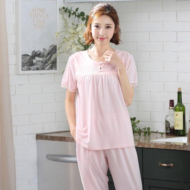 8b77969244336 Summer pajamas set women modal cotton casual tracksuit short sleeve sleep  shirt + calf-length pants pyjamas suit plus size M-3XL