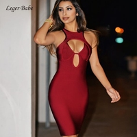 Leger Babe Red Sexy Hollow Out Christmas Dress Laides 2018 Winter Halter Dress Women Party Prom Bandage Dresses Bodycon Vestidos