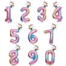 2pcs 32inch Rainbow Number Balloon with Unicorn Foil Iridescent Digit Ballon Baby Shower Happy Birthday Party Globos
