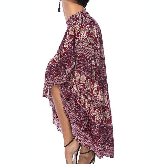 ce90690a94 Womens Floral Print Bohemia Magic Maxi Skirt Boho Hippie Summer Beach  Asymmetrical Wrap Ankle-Length Long Chiffon Skirt