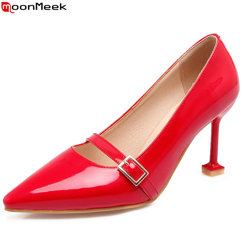 MoonMeek red pink fashion spring autumn new women pumps pointed toe ladies shoes thin heel shallow buckle high heels shoes spring autumn shoes woman pointed toe metal buckle shallow 11 plus size thick heels shoes sexy career super high heel shoes