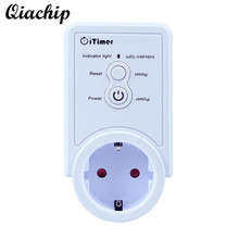 Фотография QIACHIP GSM Power Outlet EU Plug Socket Temperature Sensor Intelligent Temperature Control English SMS Command Control Switch