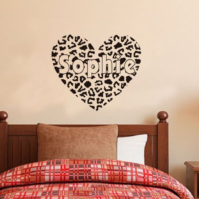 Customised Cheetah Print Heart Wall Decals Any Name