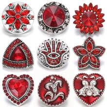 10pcs/lot New Snap Jewelry 18mm Metal Buttons Rhinestone Flower Owl Fit Bracelet Necklace