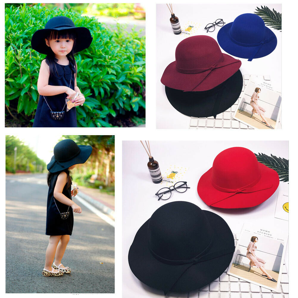 Baby Girls Summer Bowknot Hat Bowler Beach Sun Protect Caps Accessories 2-8Year//
