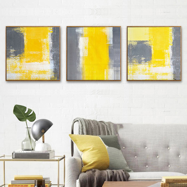 Haochu Nordic Abstract Canvas Fabric Painting Typography Yellow Gray Color Wall Pictures For Living Room Decoration