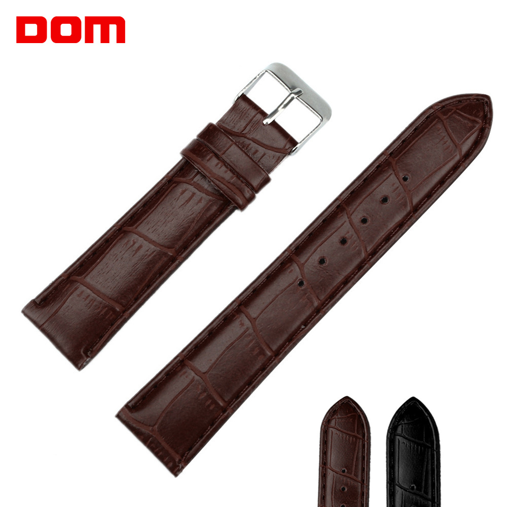 DOM New Watch Brown Black Watchbands Women's Men's Leather Strap Steel Buckle  18mm 20mm 22mm Watch Accessories Wristbands