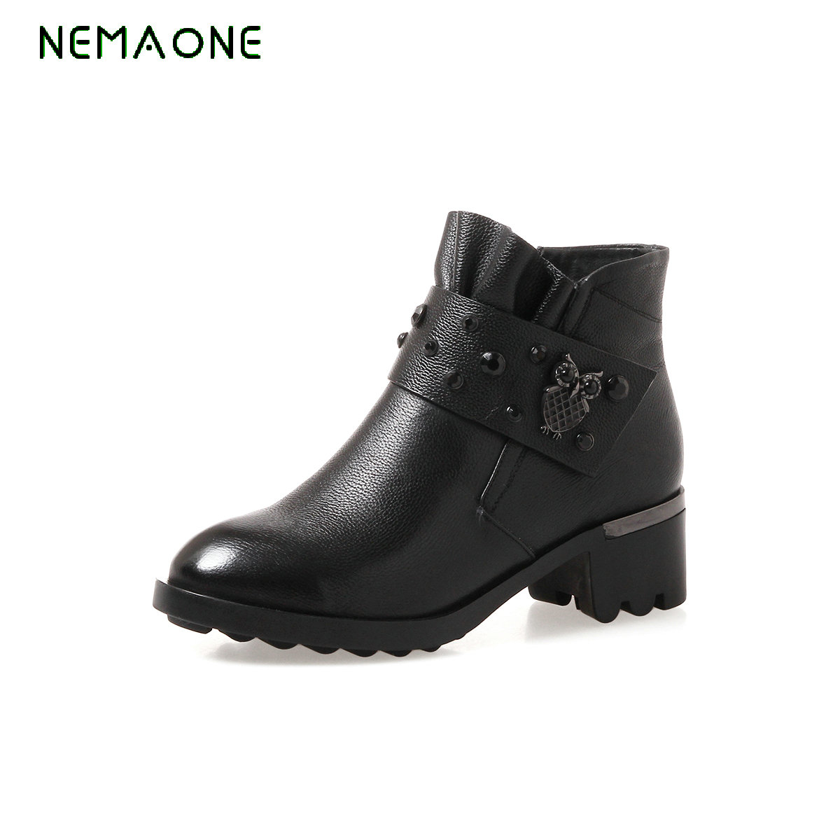 NEMAONE Fashion Big Size Ankle Boots Square Heels Platform Round Toe Casual Winter Daily Working Shoes Women Size 32-43 big size 34 42 high quality genuine leather leisure low heels ankle boots fashion cowhide round toe platform women boots