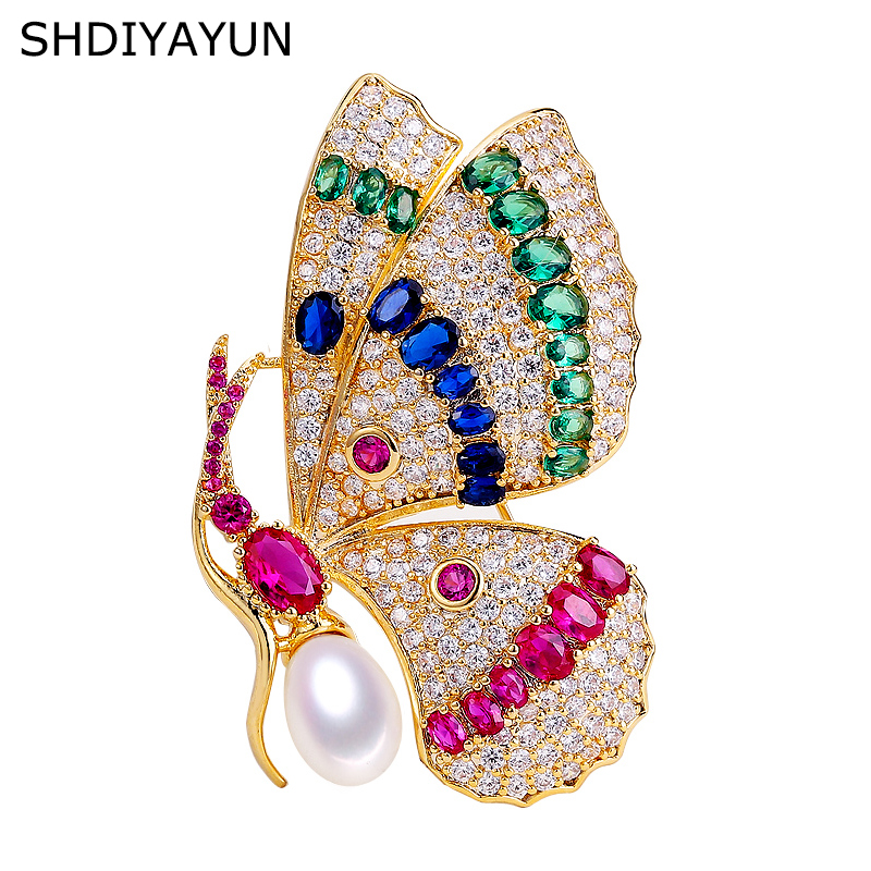SHDIYAYUN 2019 Pearl Brooch For Women Vintage Zircon Butterfly Brooches Pins Natural Freshwater Pearl Fine Jewelry Accessories SHDIYAYUN 2019 Pearl Brooch For Women Vintage Zircon Butterfly Brooches Pins Natural Freshwater Pearl Fine Jewelry Accessories