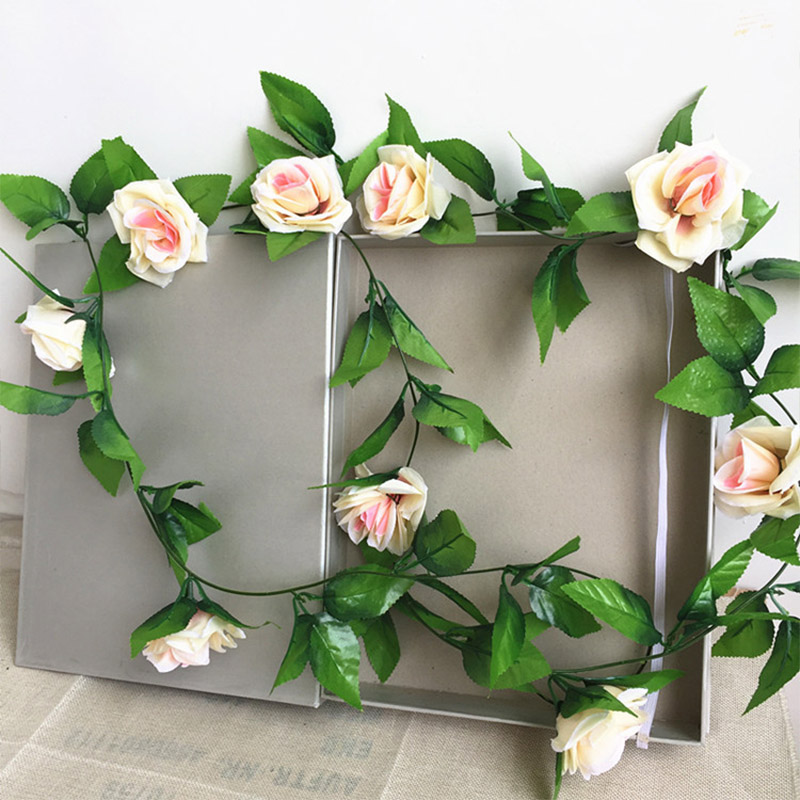250CM/lot Silk Roses Artificial Flowers With Green Leaves For Home Wedding Decoration 20