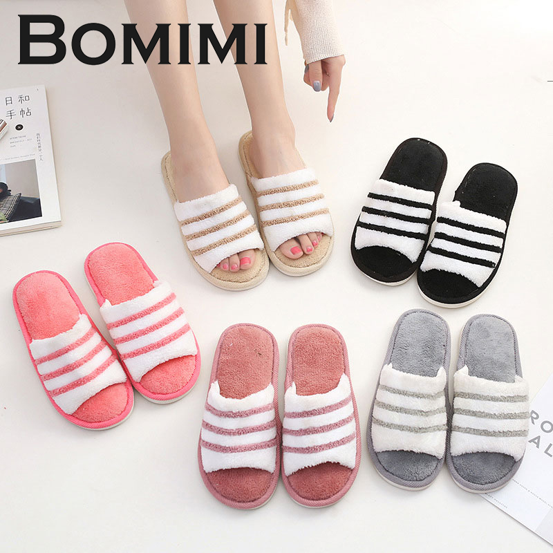 BOMIMI Women Slippers Lovely Stripe Flat Indoor Shoes Lovers Winter Plush Warm Home Slippers woman Spring Autumn Plush Slippers children parents boys girls cartoon bathroom slippers summer women home slippers lovers slides flat with indoor fashion new