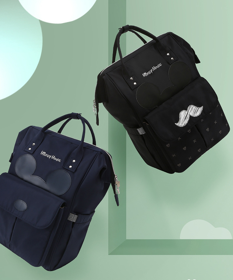 HTB1czpTLFYqK1RjSZLeq6zXppXaP Disney Diaper Bag Backpack For Moms Baby Bag Maternity For Baby Care Nappy Bag Travel Stroller USB Heating Send Free 1Piar Hooks