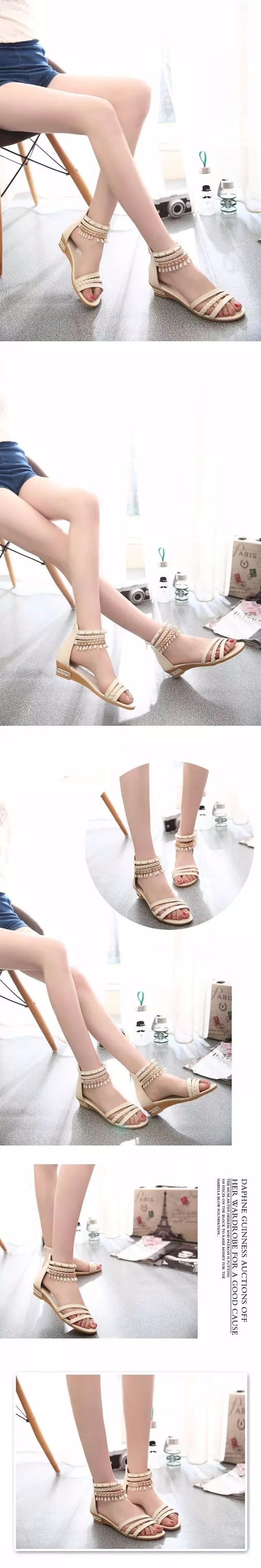 Hot Sale 2016 Summer Sweet Fashion Roman Beads Woman Sandals Leisure Peep Toe Wedges Shoes Wild Comfortable Ladies Sandals DT141 (8)