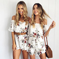 Women Summer Bohemian White floral print jumpsuits pants Off shoulder Long Sleeve Sexy Woman Romper Shorts Playsuit