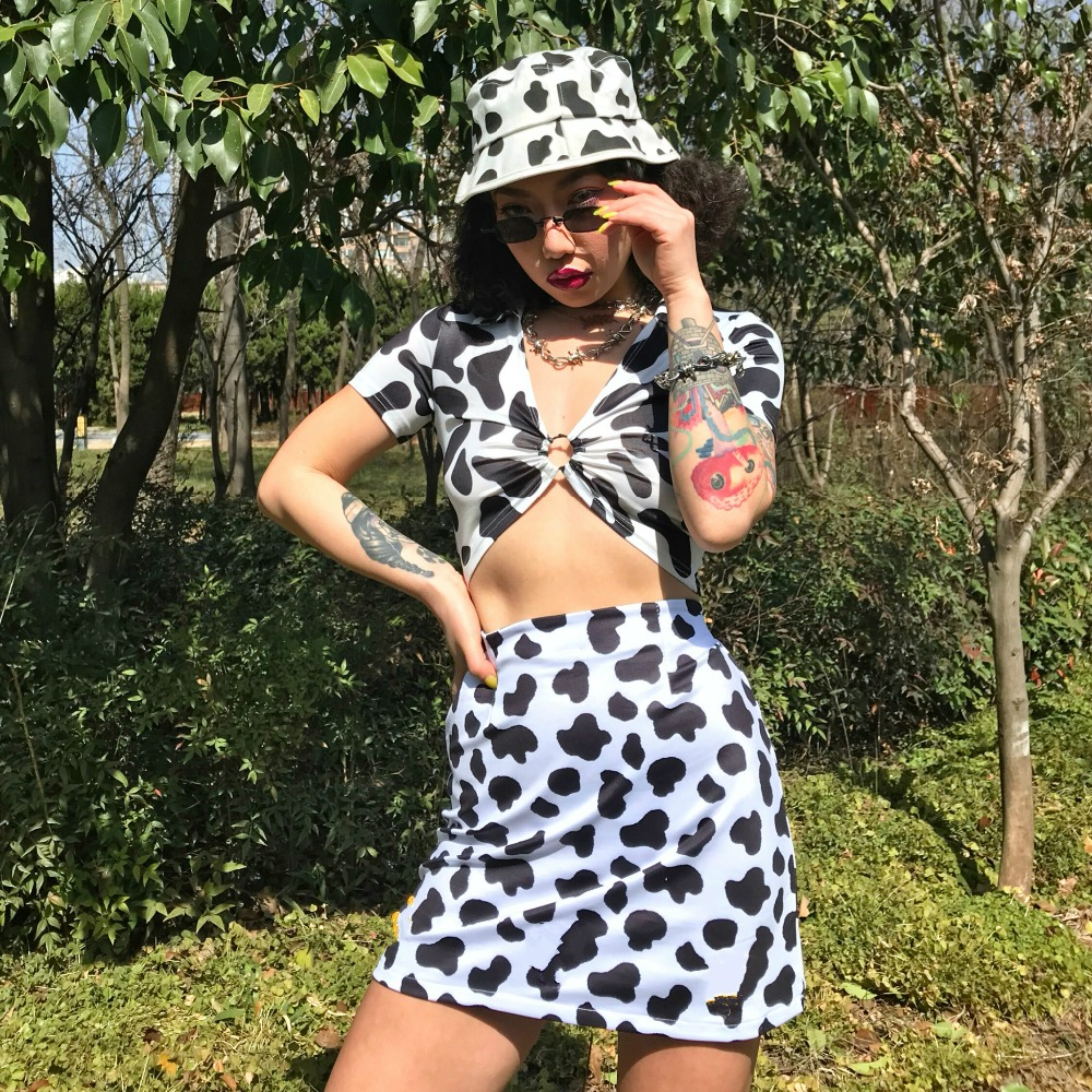 HTB1czpjNxjaK1RjSZKzq6xVwXXaG - Dairy Cow Print Sexy Two Piece Set 2 Piece Set Women Two Piece Outfits Crop Top And Skirt Set Streetwear Bodycon Matching Sets