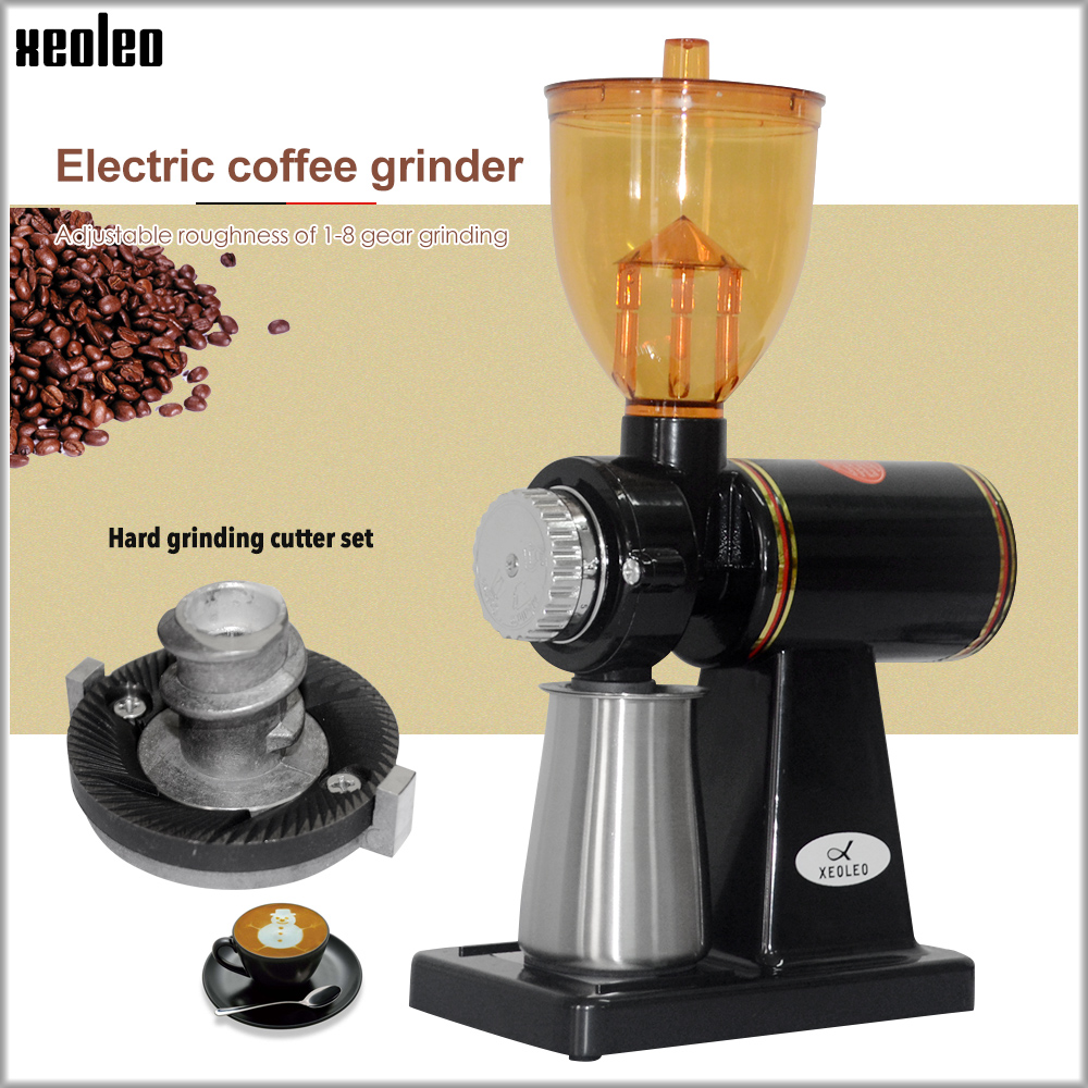 Xeoleo 250g Electric Coffee Grinder Coffee Mill Machine Stainless Steel Box Anti-jump Flat Wheel Grinding Machine Coffee Grinder