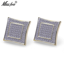 HOT!!! Hiphop 24K Gold Plated Fashion Womens Earrings Safety Pin Square Cubic Zirconia Bizuteria Piercing Male Earring Gifts