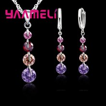 Genuine 925 Sterling Silver Super Shining Cubic Zirconia Pendant Necklace Earrings Sets For Women Ladies Crystal Jewelry(China)