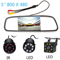 Reversible Parking 5 Inch TFT LCD Color Screen Car Mirror Monitor Rearview With CCD Waterproof Rear