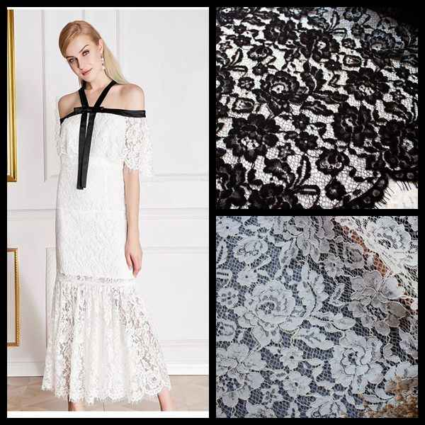 Women gowns dresses formal lace material Off white Black 2019 NEW designs laces fabrics eyelash chantilly french lace!