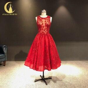 Image 1 - JIALINZEYI จริงภาพใหม่ล่าสุดไวน์แดงคริสตัลลูกปัดข้อเท้าความยาว A   Line Prom Dresses Party Dresses 2019