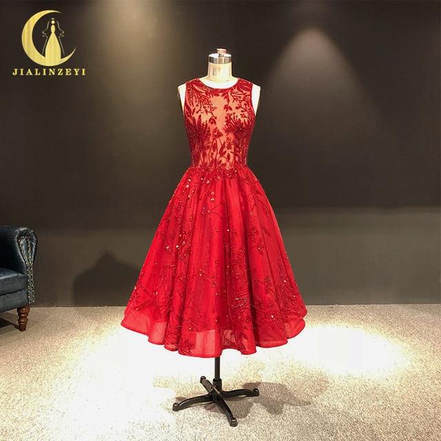 JIALINZEYI จริงภาพใหม่ล่าสุดไวน์แดงคริสตัลลูกปัดข้อเท้าความยาว A   Line Prom Dresses Party Dresses 2019
