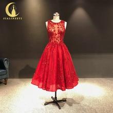 JIALINZEYI, imagen Real, más nuevo, vino, cuentas de cristal Rojas, longitud hasta el tobillo, A line, vestidos de graduación, vestidos de fiesta 2019
