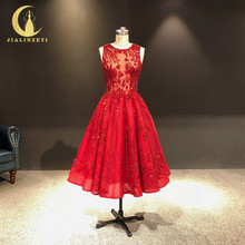 JIALINZEYI תמונה אמיתית הכי חדש יין אדום קריסטל חרוזים קרסול אורך אונליין שמלות נשף מפלגת שמלות 2019