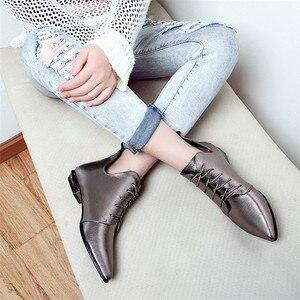 Image 4 - Fedonasファッション女性アンクルブーツcorss縛ら低かかと秋の女性靴女性ポインテッドトゥパーティーウエディングパンプス女性 2021 ブーツ