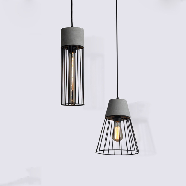 Post Modern Hanging Cement Pendant Lamp Contemporary Concrete Black Caged Pendant Lights Wrought Iron Lighting Fixture Edison caged onion post verdi gris with galley 3 candelabra sockets frosted glass