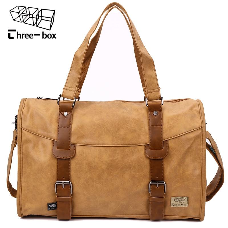 Three-box Brand PU Leather Mens Handbag Casual High Quality Travel Bag Business Large Capacity Duffle Bags Vintage Bolso