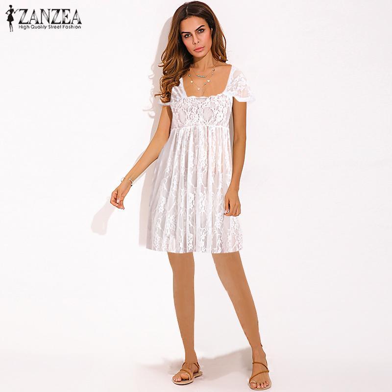 2019 летний сарафан ZANZEA женское Сексуальное Кружевное белое платье миди Vestidos открытое пляжное короткое платье Femme прозрачные вечерние платья