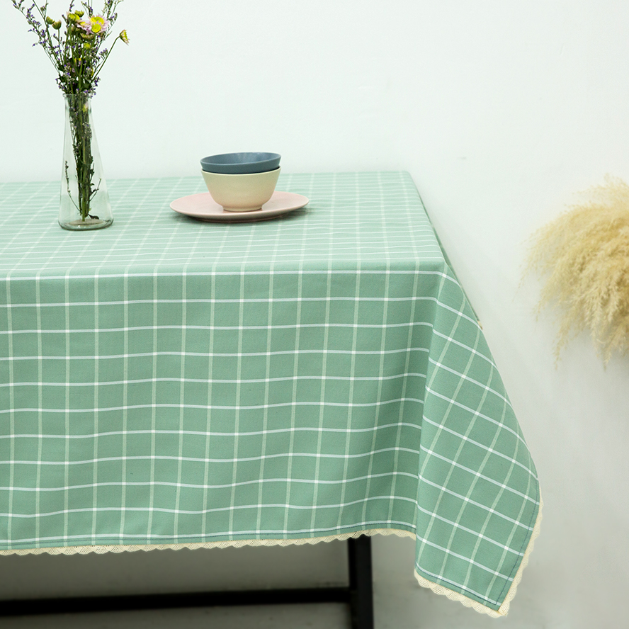 Light Green Plaid Printed Table Cloth Lace Tablecloth Water Repellent Oil  Resistant Mildew Resistant Tablecloth With