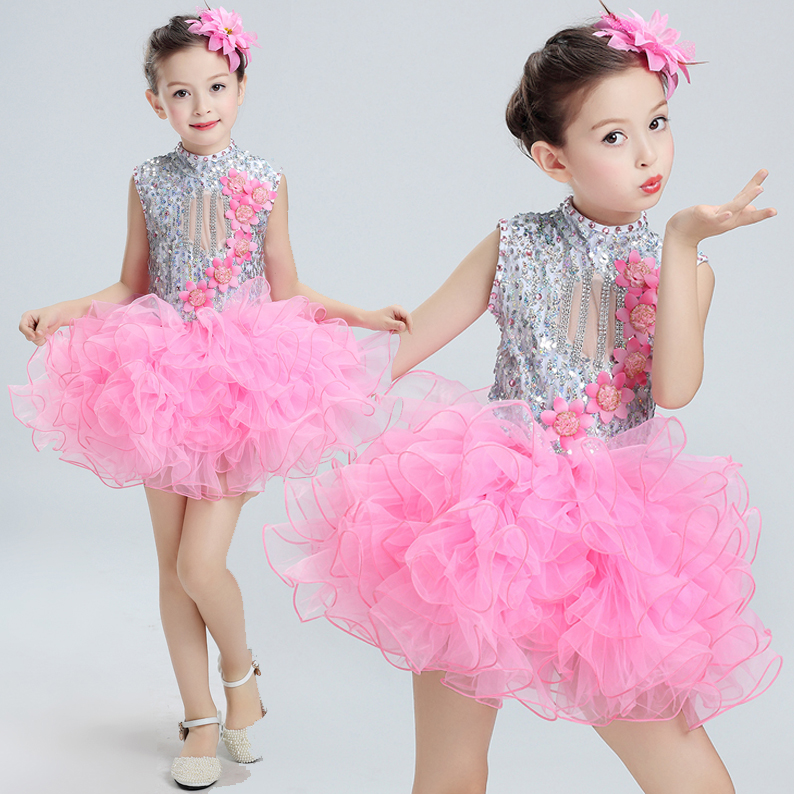Современные детские танцевальные костюмы для детей; танцевальное платье-пачка с блестками для девочек; танцевальное платье для сальсы для девочек; Одежда для танцев