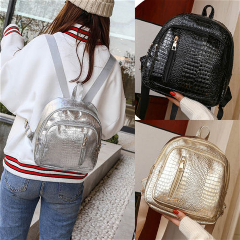 aca189a80bef Women PU Leather Backpacks Cute Travel Rucksack School Bag Simple Fashion  Crocodile Mini Backpack-in Backpacks from Luggage   Bags on Aliexpress.com  ...